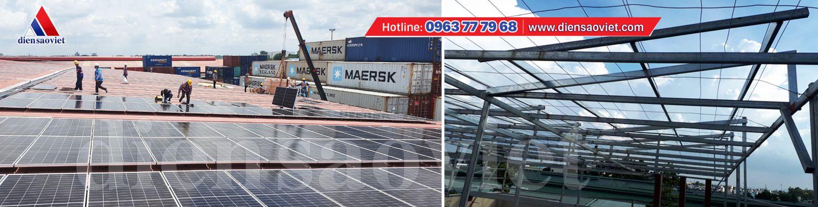 Hệ thống điện mặt trời áp mái và Hệ thống điện mặt trời làm giàn khung dưới mặt đất - công ty Điện sao Việt thi công